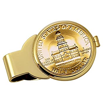 Coin Money Clip - JFK Bicentennial Half Dollar Layered in Pure 24k Gold   Brass Moneyclip Layered in Pure 24k Gold   Holds Currency Credit Cards Cash   Genuine US Coin   Certificate of Authenticity