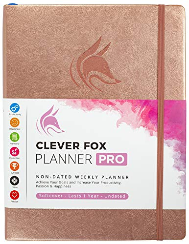 Clever Fox Planner PRO - Weekly & Monthly Life Planner to Increase Productivity, Time Management and Hit Your Goals - Organizer, Gratitude Journal - Undated - 8.5 x 11' - Lasts 1 Year (Rose Gold)