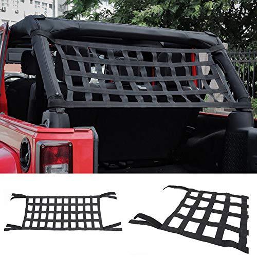 Dyda6 Rete cargo in rete, comoda ed elastica per tettuccio auto, per Jeep Wrangler YJ TJ JK JKU JL JLU, resistente Oxford