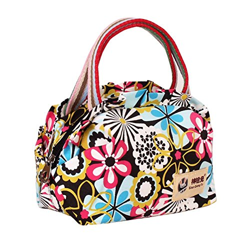 EcokakiTM Canvas Lovely Printed Tote Ladies Handbag Lunch Bags Shopping Bag Colorful Flowers