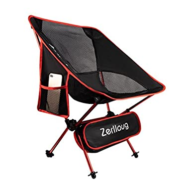 Zerllaug Folding Camping Chair, Lightweight Portable Backpacking Chair for Outdoor, Heavy Duty 270 lb Capacity with Carry Bag, Breathable and Comfortable (Red)