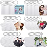 60 Pieces Sublimation Blank Keychain Double-Side Printed Heat Transfer Keychain DIY MDF Blank Keychain with Key Ring for Graduation Day Christmas Presents, 6 Shapes