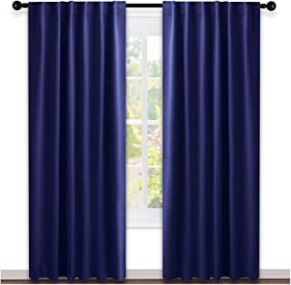 NICETOWN Vertical Blinds Window Curtain Panels - (Navy Blue Color) 52 by 84 Inches, Set of 2 Panels, Energy Saving Blackout Curtains for Nursery