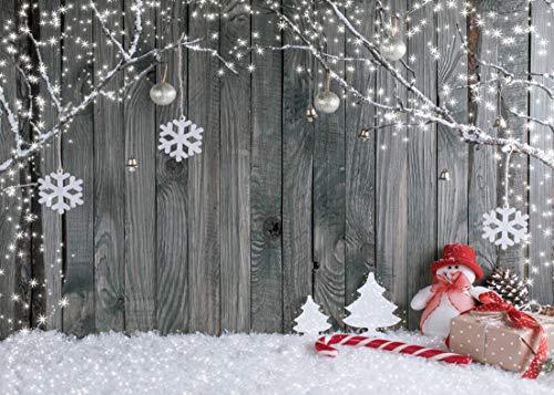 AIIKES 2.1Mx1.5M/7x5FT Copo de Nieve de Navidad de Vacaciones Fotografía Fondo de Pared de Madera Decoración del...