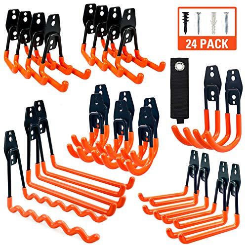 MARVOWARE Garage Storage Hooks 24 Pack Steel Heavy Duty Organizer Anti-Slip Double Wall Mount Holder Utility Power Tool Hangers for Ladder Garden Tools Bike Hoses Ropes&Bulky Items Organization