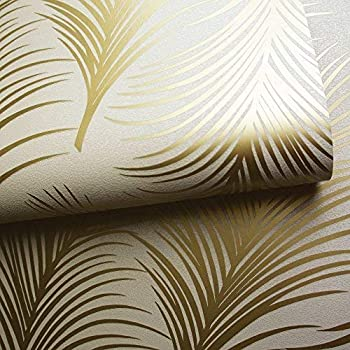 3 X Bold Stripe Cream Gold Metallic Shimmer Wallpaper Feature Holden Decor