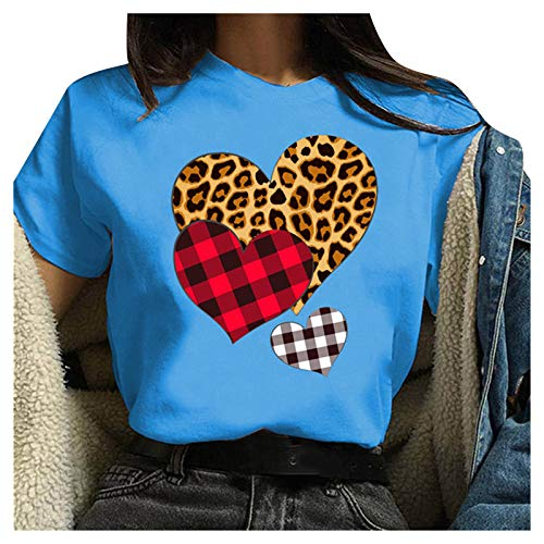 SEWORLD Women s Fashion Valentine's Day Short Sleeve Printing Loose Blouse T-Shirt Tee Tops