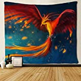 MAMINA Galaxy Tapestry Phoenix Tapestry Amazing Fantasy Phoenix Bird Wall Tapestry Mysterious Space Tapestry Magic Starry Stars Wall Hanging for Living Room,Bedroom,Dorm,W59 × H51