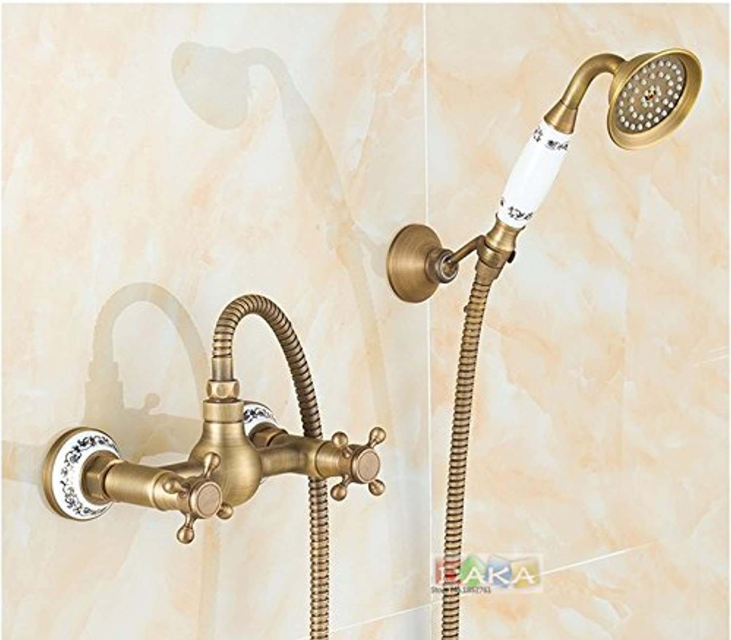 Vintage Antique Brass Design Bathroom Shower Faucet Set Wall Mounted Luxury Ceramics Shower Dual Handle Bath Tub Mixer Tap,Light Yellow