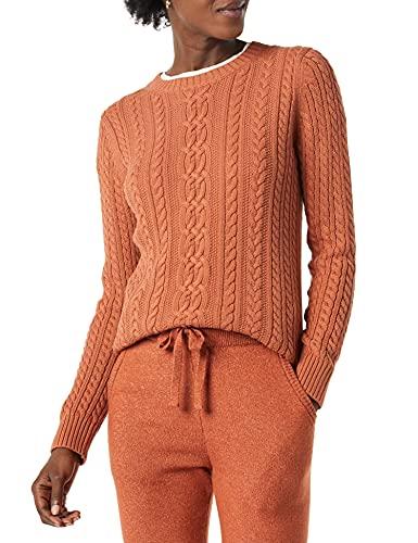 Amazon Essentials Fisherman Cable Crewneck Sweater Suéter, Caramelo, L