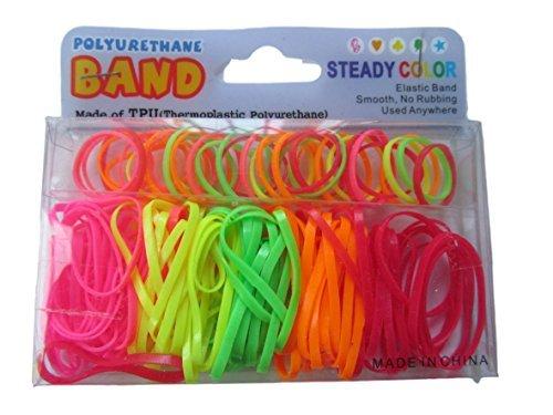 Élastique pour queue cheval couleur fluo style années 80-1 EMBALLAGE cheveux élastiques, small/medium