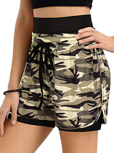 NIMIN Women's High Waist Yoga Shorts Workout Biker Running Compression Exercise Shorts with Side Pockets Brown Camouflage X-Large
