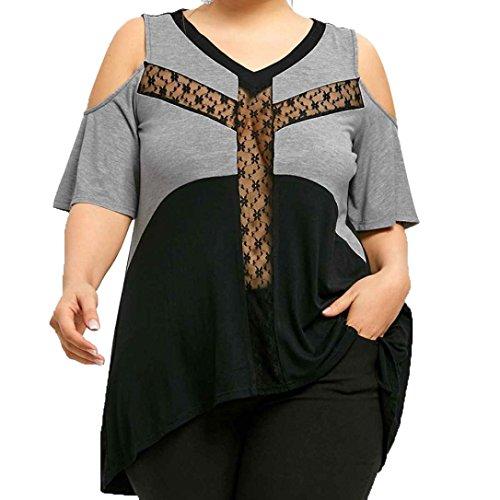 TWIFER Große Größe Frauen Spitze Patchwork T-Shirt Langarm Oberteile Bluse (S-5XL) (M, K-Grau-2)