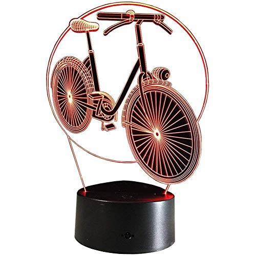 Bicicleta Luz nocturna 3D Interruptor táctil USB Decoración Mesa Escritorio Lámparas ilusión óptica 7 luces que cambian color Lámpara mesa LED Navidad Hogar Amor Brithday Niños Niños Decoración Jugu