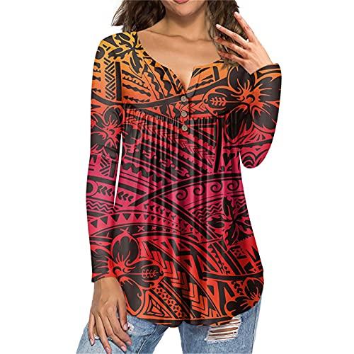 Veslagy Gradiente Floral Hibisco Polinesio Samoa Impresión Mujer Tops Manga Larga Más Tamaño Túnica Blusas Camisas, gris oscuro, M