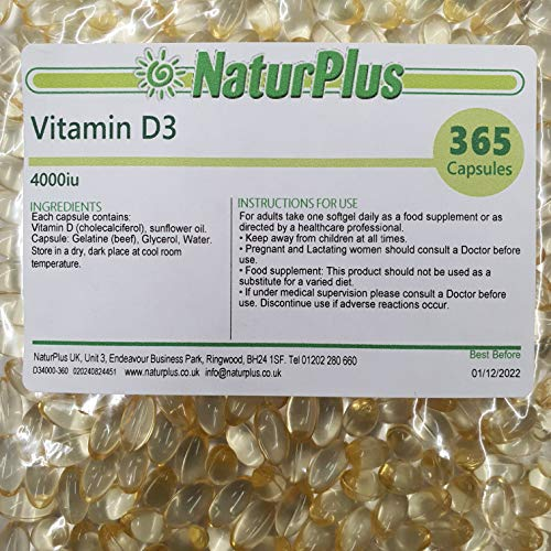 Vitamin D3 4000IU | 365 Softgel Capsules (Full Year Supply) | Premium High Strength D3 Formulation | Easy to Swallow | Gluten, Wheat and Lactose Free by NaturPlus