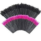 Lot de 200 brosses jetables pour mascara pour cils (rose et noir)