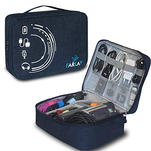 Electronic Organizer Travel Case Waterproof Carrying Bag Cable Universal Storage for Chargers Cables Management Cases Gadget Accessories Portable Bags Organization Best Wire Cord Phone Blue