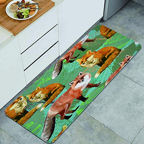 ZORMIEY Alfombras Cocina Lavable Antideslizante Alfombra de Baño Alfombrillas Cocina,Patrón Rojo romántico Hojas de otoño Zorro Naturaleza Cola Grupo marrón Diseño Negro Flor,45x120 cm