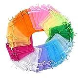 100 Piezas Bolsa Organza 10x12cm Bolsitas de Tela, Bolsas para Envoltura de Joyas, Bolsitas para Regalos con Cordón para Boda Fiesta Bolsas de Dulces, 10 Colores