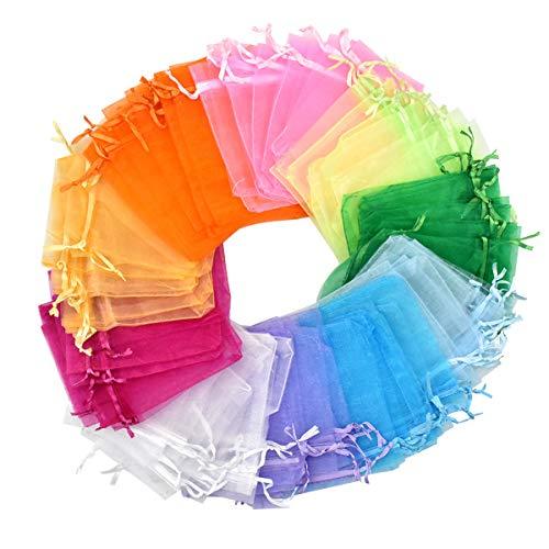 Fodlon 100pz Sacchetti Organza, Multicolore Borse Organza 10 x 12cm Sacchettini per Confetti, Gioielli Sacchettini con Coulisse, Regalo Buste per Nozze Compleanno Festa Caramella Bustine, 10 Colori