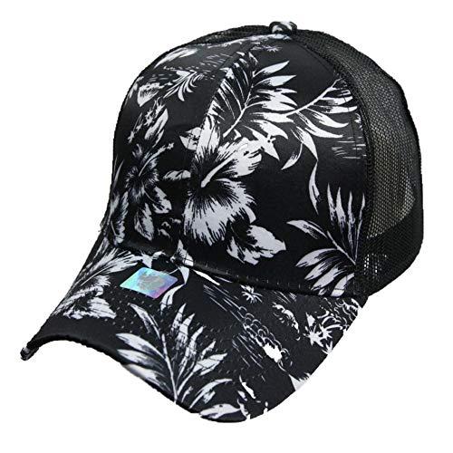 Hawaiian Baseball Cap Mesh Trucker Floral Hat Fashion Snapback Tropical Caps (Black/White)