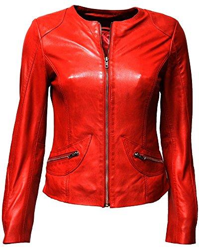 Zimmert Lederjacke Bea Jacke Damen Kragenlos leich Slim-Fit weiches Lamm-Nappa, Sommer Reißverschluss schlicht (Rot, 38)