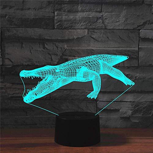 Magische 3D-Laterne, LED-Nachtlicht, 7 Farben, Krokodil, Tier, USB-Tischlampe, ein Geschenk für Kinder neben der Heimdekoration