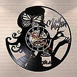 UIOLK Creatividad Retro salón de Belleza Estudio de manicura Reloj de Pared Disco de Vinilo Reloj de Pared salón de manicura Obra de Arte pedicura decoración de Arte