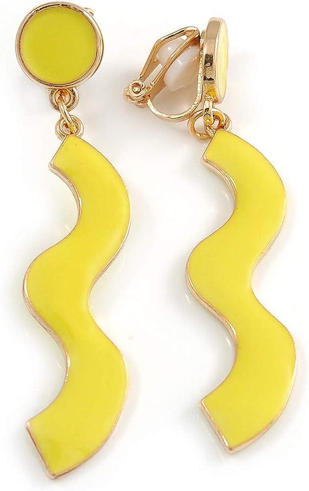 Avalaya Neon Yellow Enamel Wavy Clip-On Earrings in Gold Tone - 55mm Long