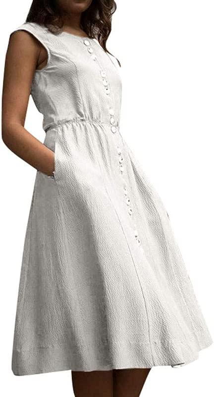 JULYKI Women Casual Plain Dresses With Pockets Button Down Elegant A Line T Shirt Dress