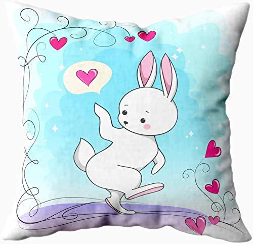 Keyboard cover Fundas de almohada de 40 x 40 cm, bonito diseño romántico de conejo blanco con corazón de animales para niños y bebés, diseño de moda de Pascua para Pascua, color azul y blanco