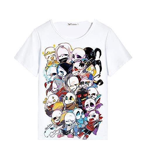 Undertale Mochila Casual Salvaje impresión de la Manera Camiseta del Verano Transpirable Verano clásico Cuello Redondo Top Unisex (Color : White01, Size : Height-140cm(Tag 140))