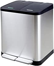 GSAGJljt 92 Liter Stainless Steel Rectangular Kitchen Dual Compartment Step Trash Can Recycler, Pedal Compartments Separation System Containers Bins