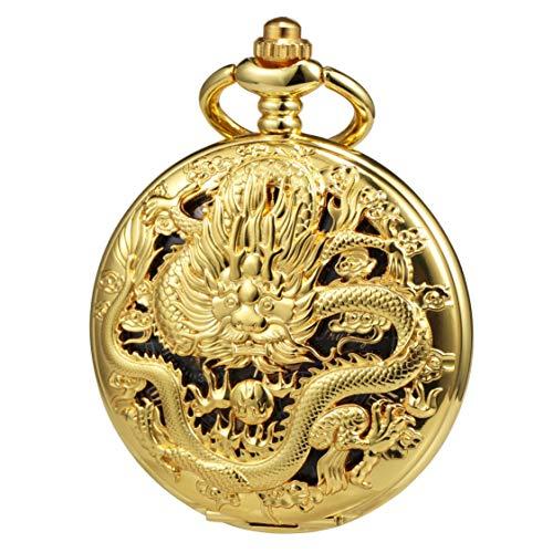 TREEWETO Taschenuhr mit Kette Herren Analog Handaufzug Doppelscharnier Antik Drache Römische Ziffern Gold