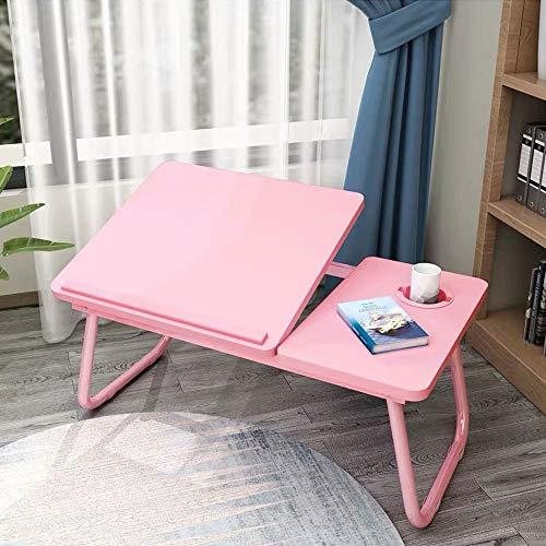 Ergonomische Laptop Tafel, Adjustable Notebook Computer Table, tafelblad 45 ° gedraaid, met anti-slip Baffle en de kaartgleuf, voor Living Room Slaapkamer,Pink