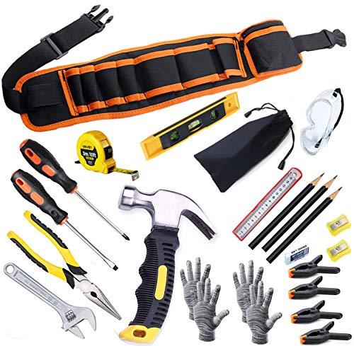 Kinder-Werkzeug-Set, junge Bauarbeiter, Kindergröße, echter Handwerkzeug,25-teilig, Hammer, Lernwerkzeug, Gürtel, Taille, Junior, Jungen, Teenager, Anfänger, Holzbearbeitung, Bau, Reparatur-Set