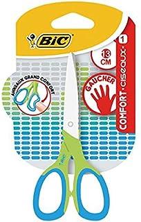 BIC Comfort Ciseaux Enfants pour Gaucher 13 cm - Vert/Bleu, Blister de 1