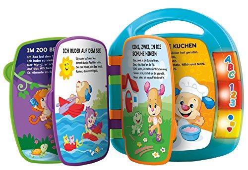Fisher-Price CDH40 - Lernspaß Liederbuch Baby Spielzeug zum Lernen von Buchstaben, Zahlen und Formen, Spielzeug ab 6 Monaten, deutschsprachig