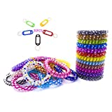 30Pack Mix Color Plastic Coil Stretch Wristband...
