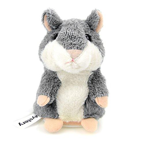 CestMallHamster Juguete, Repite Lo Que Dices. Electronic Mascota Hablador Plush Toy para niños, 3 x 5.7 Pulgadas (Gris)