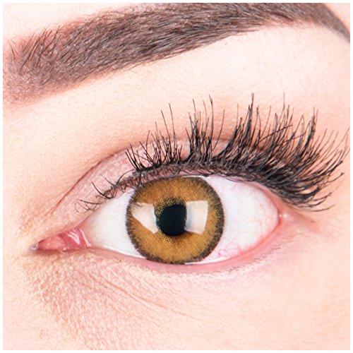 Glamlens Farbige Braune Kontaktlinsen Mirel Brown Stark Deckende Natürliche Silikon Comfort Linsen - 1 Paar (2 Stück) Ohne Stärke 0.00 Dioptrien