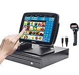 ZHONGJI A3 Caisse enregistreuse à écran tactile avec imprimante thermique de reçus, tiroir-caisse et scanner de codes-barres(Vente au détail ou restaurant)
