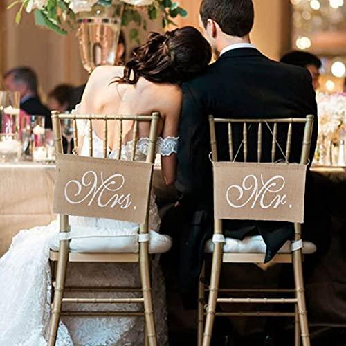 Lot de bannières de chaise Mr & Mrs - En dentelle de jute - Pour mariage, fête, décoration de mariage, photo