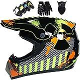 Motocross Helm Enduro Helm Motorrad IntegralhelmKinder MotorradhelmDownhill HelmMit Handschuhe...