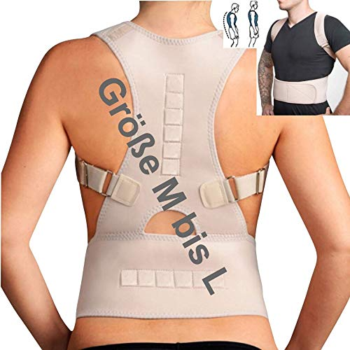 TOP & MARKE *Größe M bis L* Rücken Rückenbandage Geradehalter zur Haltungskorrektur für Damen & Herren - orthopädisch mit 20{6e6368be51011188a677821234deb7cfe611d19338656469c4d3c1fb5a26cad8} Baumwolle & 12 Magneten