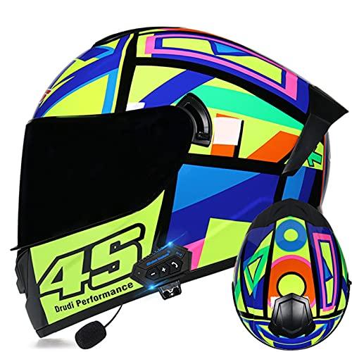 Bluetooth Integrado Modular Flip Up Front Full Face Casco de motocicleta Ciclomotor Street Bike Racing Moto Adultos Hombres y mujeres Doble visera Certificación ECE,K,XL 61~62cm