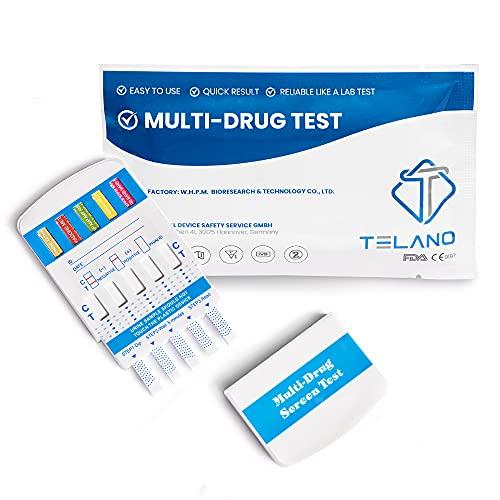 5 x Telano Multi Drogenschnelltest für 10 Drogenarten | Cannabis THC - Kokain - Ketamine - Amphetamin - Methamphetamin - MDMA - Opiate - Benzodiazepine - Methadon - Barbiturate | Drogentest für Urin