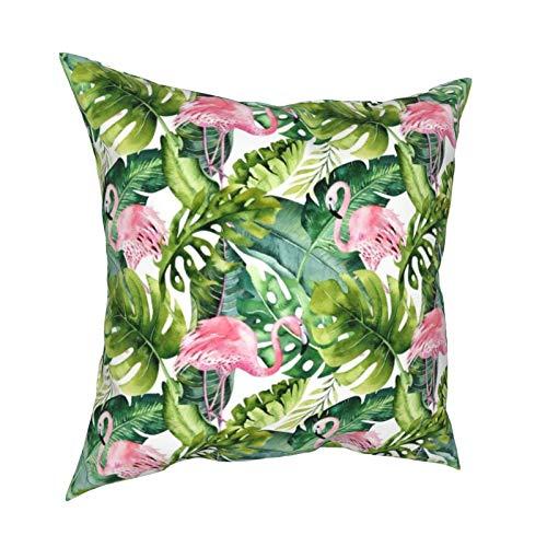 Reebos Fundas de almohada, diseño de flamencos y hojas tropicales para el hogar, fundas de cojín cuadradas para sofá, sala de estar, cama de 45,7 x 45,7 cm