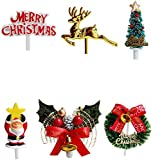 Christmas Cake Toppers Santa Deer Star Tree Bell Garland Festive Stand UP Muffin Cupcake Xmas Cake Toppers Party Table Cake Edible Birthday Wedding Decorations
